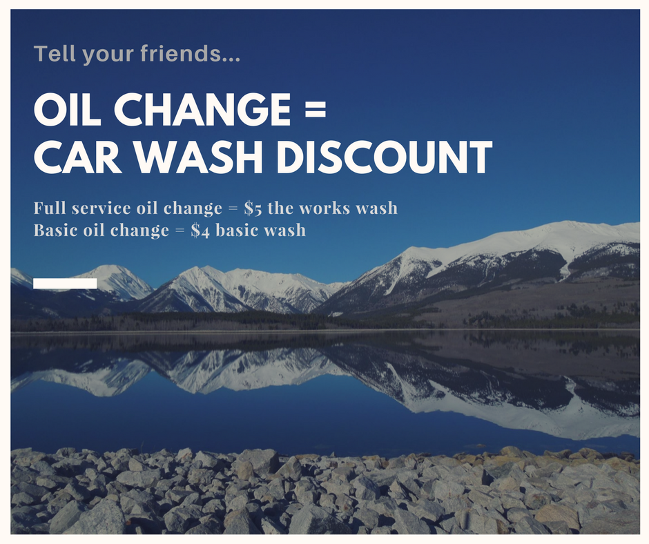 Get your oil changed and receive a car was discount